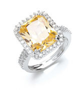 Sterling silver citrine and clear cubic zirconia Statement ring